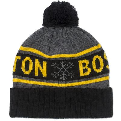 Boston Black & Gold Snowflake Old School Knit - Graphite - Chowdaheadz