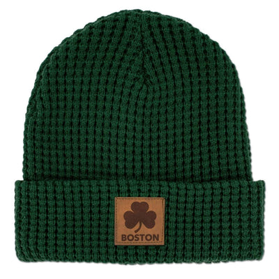 Boston Shamrock Leather Patch Timber Beanie - Chowdaheadz