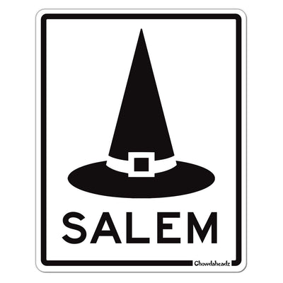Salem MA Witch Hat Sign Sticker - Chowdaheadz