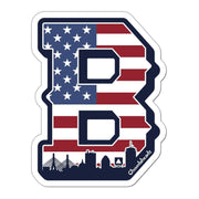 Big Block B Boston USA Sticker - Chowdaheadz