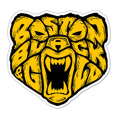 Boston Black & Gold Bear Sticker - Chowdaheadz