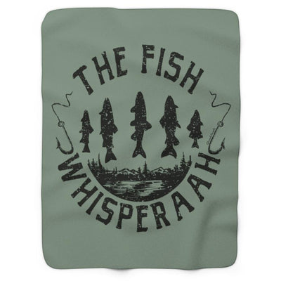 The Fish Whisperaah Sherpa Fleece Blanket - Green - Chowdaheadz