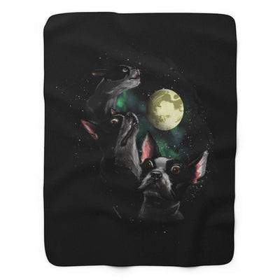 Three Terriers One Moon Sherpa Fleece Blanket - Chowdaheadz