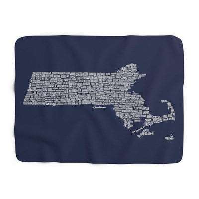 Massachusetts Cities & Towns Sherpa Fleece Blanket - Navy - Chowdaheadz