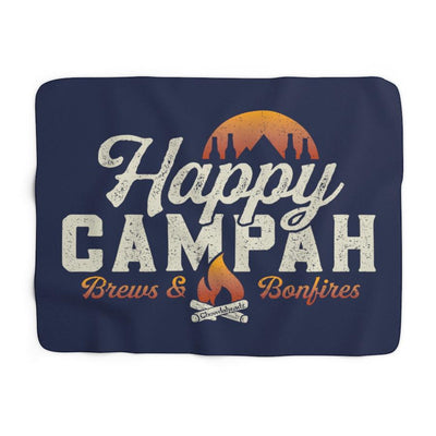 Happy Campah Sherpa Fleece Blanket - Chowdaheadz