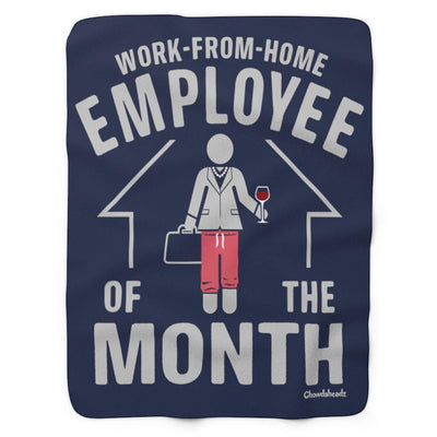 Work-From-Home Female Employee of the Month Sherpa Fleece Blanket - Navy - Chowdaheadz