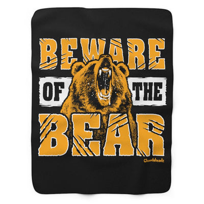 Beware of the Bear Boston Sherpa Fleece Blanket - Chowdaheadz