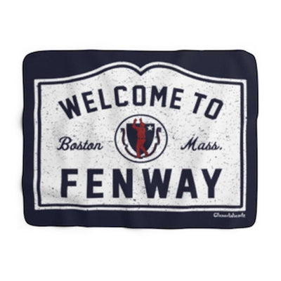 Welcome To Fenway Sign Sherpa Fleece Blanket - Chowdaheadz
