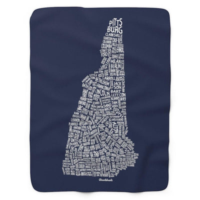 New Hampshire Cities & Towns Sherpa Fleece Blanket - Chowdaheadz