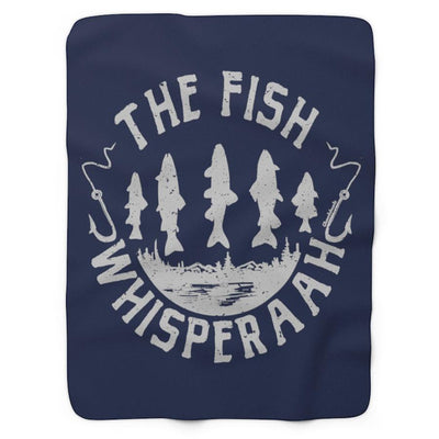 The Fish Whisperaah Sherpa Fleece Blanket - Navy - Chowdaheadz