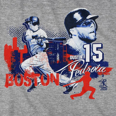 Dustin Pedroia Boston Skyline T-Shirt - Chowdaheadz