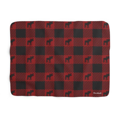 Moose Buffalo Plaid Sherpa Blanket - Chowdaheadz