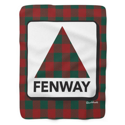 Holiday Plaid Fenway Sign Sherpa Blanket - Chowdaheadz