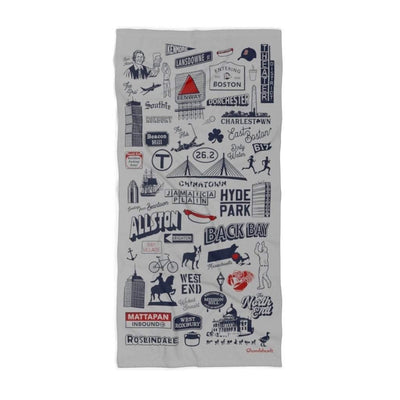 Boston Tourist Attraction Beach Towel - Chowdaheadz