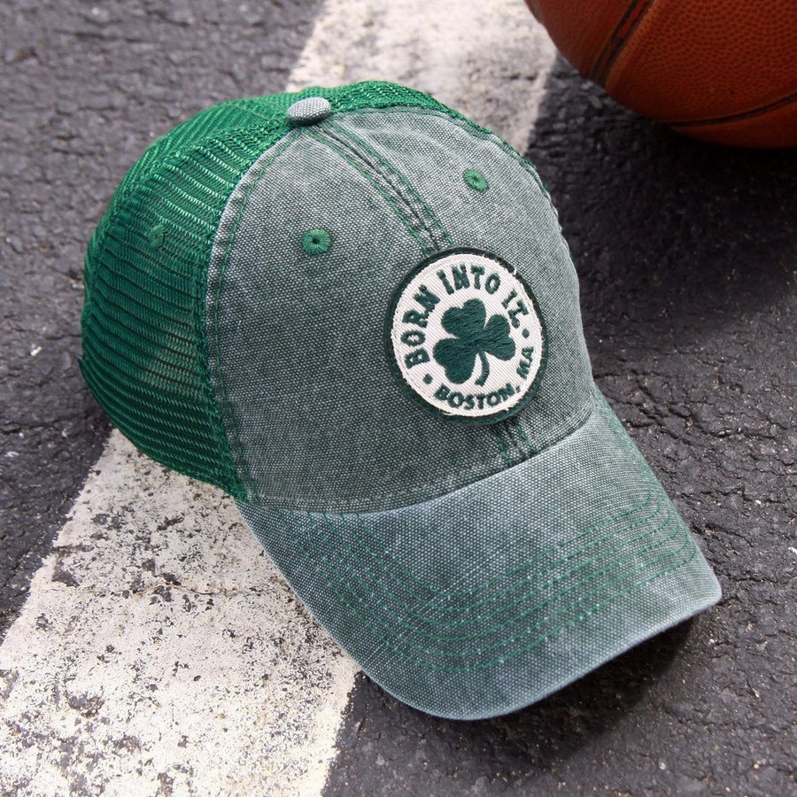 "Born Into It Shamrock ""Cobblestone"" Mesh Trucker Hat - Green - Chowdaheadz"