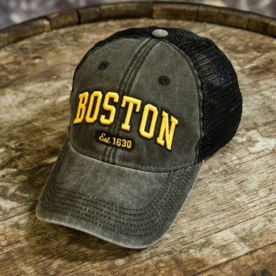"Boston Arch ""Cobblestone"" Mesh Trucker Black & Gold Hat - Chowdaheadz"