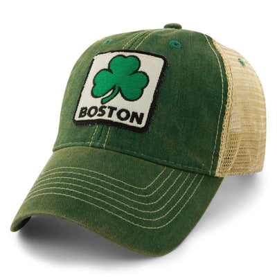 "Boston Shamrock Patch ""Dirty Water"" Mesh Trucker Hat - Green - Chowdaheadz"