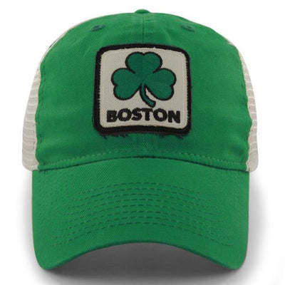 "Boston Shamrock Patch ""Townie"" Mesh Trucker Green Hat - Chowdaheadz"