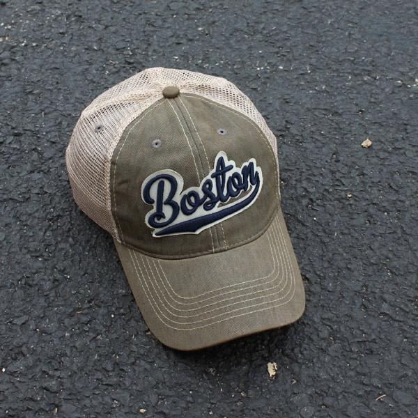 "Boston Tailsweep ""Dirty Water"" Mesh Trucker Sandalwood Hat - Chowdaheadz"