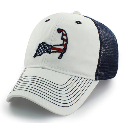 "Cape Cod USA ""White Wash"" Mesh Trucker Hat - Chowdaheadz"