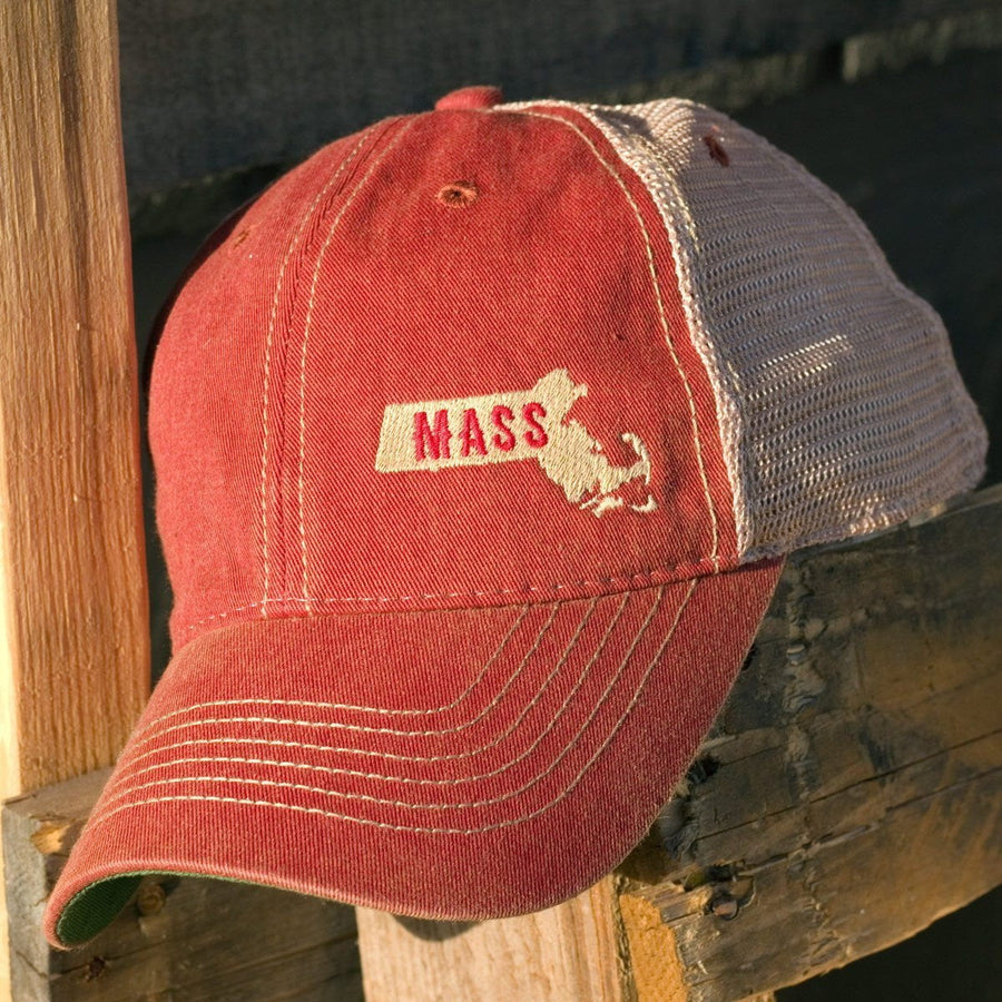 "Mini Massachusetts ""Dirty Water Trucker"" Hat - Red - Chowdaheadz"