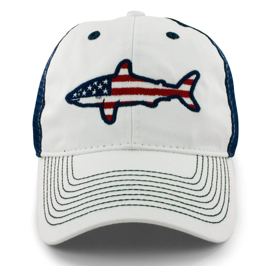 "USA Shark ""White Wash"" Mesh Trucker Hat - Chowdaheadz"