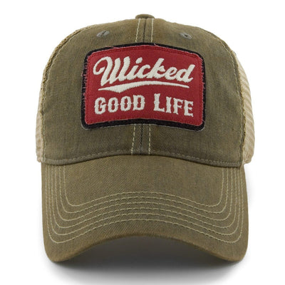 "Wicked Good Life ""Dirty Water"" Mesh Trucker Hat - Sandalwood - Chowdaheadz"