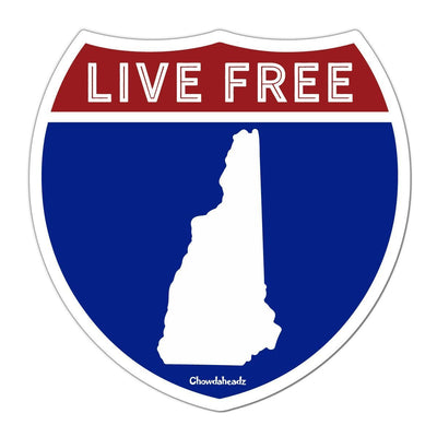 Live Free New Hampshire Highway Sign Sticker - Chowdaheadz