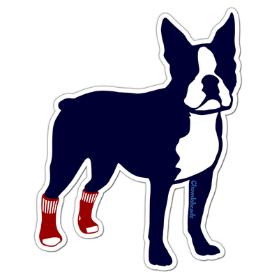 Socks on Boston Terrier Sticker - Chowdaheadz
