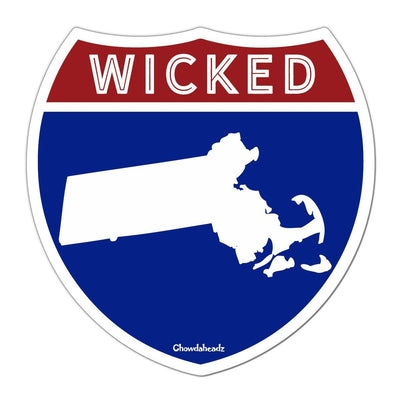 Wicked Massachusetts Highway Sign Sticker - Chowdaheadz