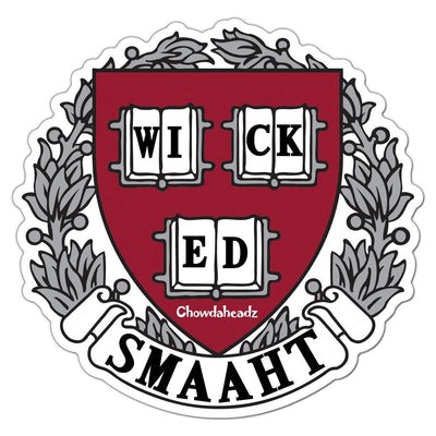 Wicked Smaaht College Sticker - Chowdaheadz
