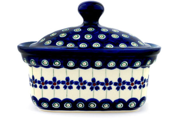 "Polish Pottery 6"" Butter Dish Flowering Peacock"
