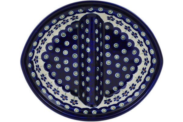 "Polish Pottery 8"" Divided Dish Flowering Peacock"
