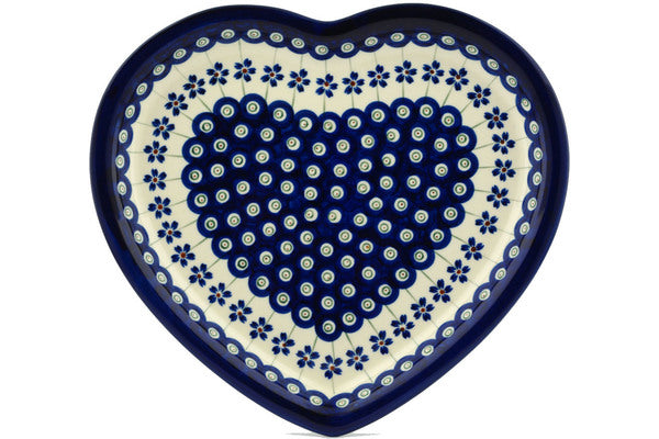 "Polish Pottery 11"" Heart Shaped Platter Flowering Peacock"