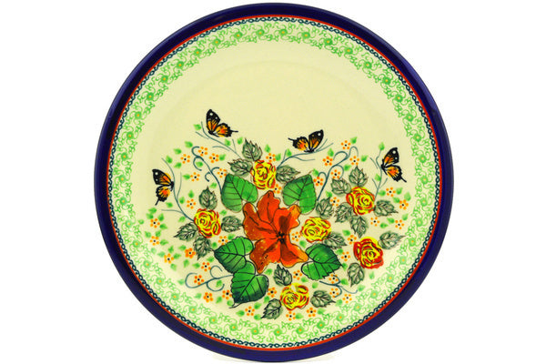 "Polish Pottery 11"" Plate Butterfly Meadow UNIKAT"