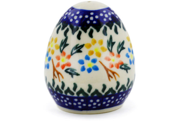 "Polish Pottery 3"" Salt Shaker Spring Flower Ring"