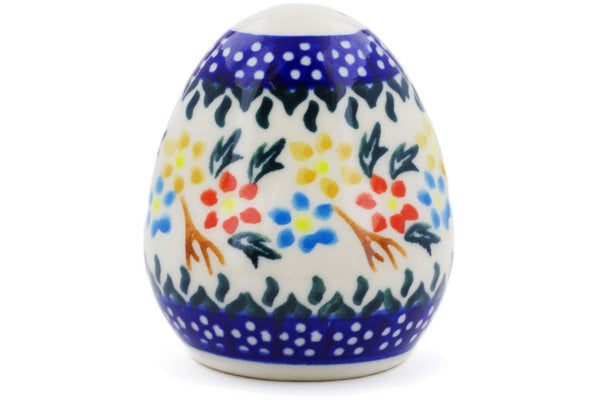 "Polish Pottery 3"" Pepper Shaker Spring Flower Ring"
