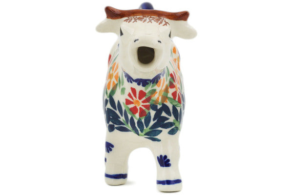 Polish Pottery 4 oz Cow Shaped Creamer Wave Of Flowers