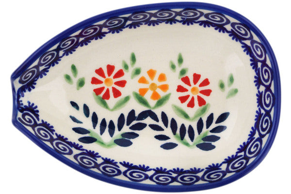 "Polish Pottery 5"" Spoon Rest Wave Of Flowers"