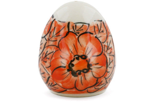 "Polish Pottery 3"" Salt Shaker Fire Poppies UNIKAT"