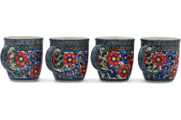 Polish Pottery Set of Four 12oz Mugs Blue And Red Poppies UNIKAT