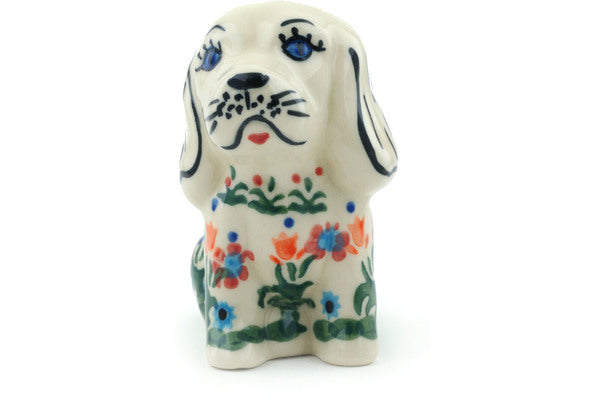 "Polish Pottery 4"" Dog Figurine Spring Flowers"