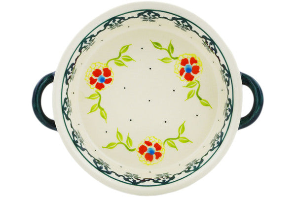 Polish Pottery 6-inch Round Baker with Handles Sunny Bloodstone