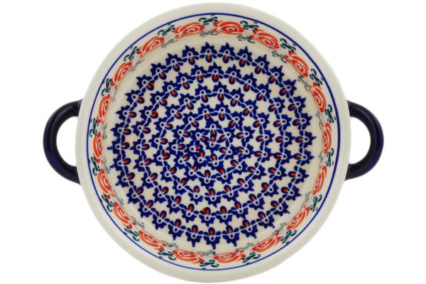 Polish Pottery 6-inch Round Baker with Handles Wreath Of Roses