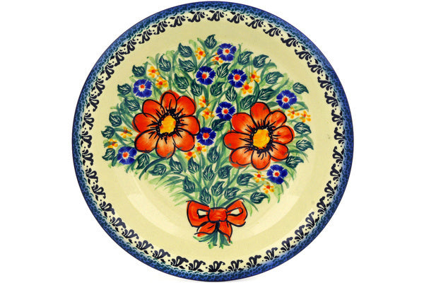"Polish Pottery 9"" Pasta Bowl Wild Bouquet UNIKAT"