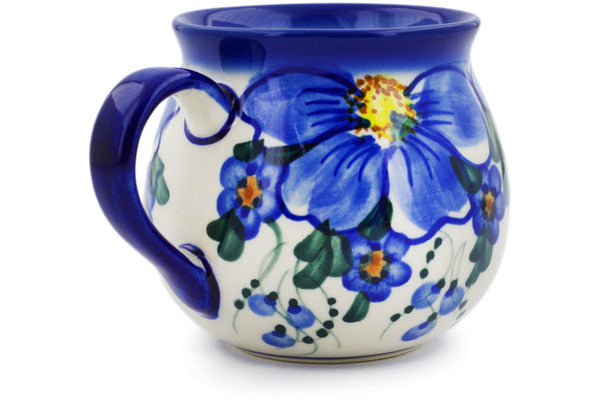 Polish Pottery 9 oz Bubble Mug Himalayan Blue Poppy UNIKAT
