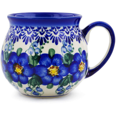 Polish Pottery 12 oz Bubble Mug Blue Wildflower UNIKAT