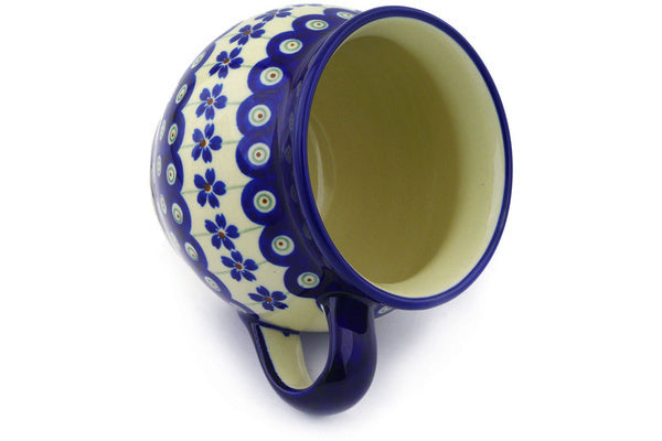 Polish Pottery 16 oz Bubble Mug Flowering Peacock