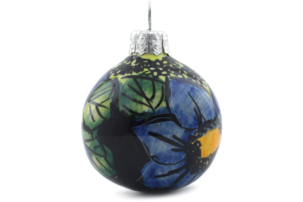 "Polish Pottery 3"" Ornament Christmas Ball Midnight Glow UNIKAT"
