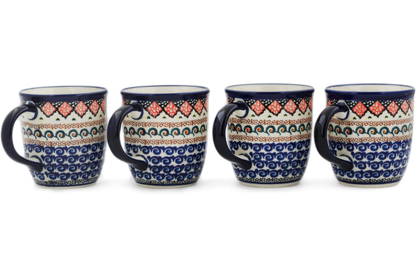 Polish Pottery Set of Four 12oz Mugs Coral Diamonds UNIKAT